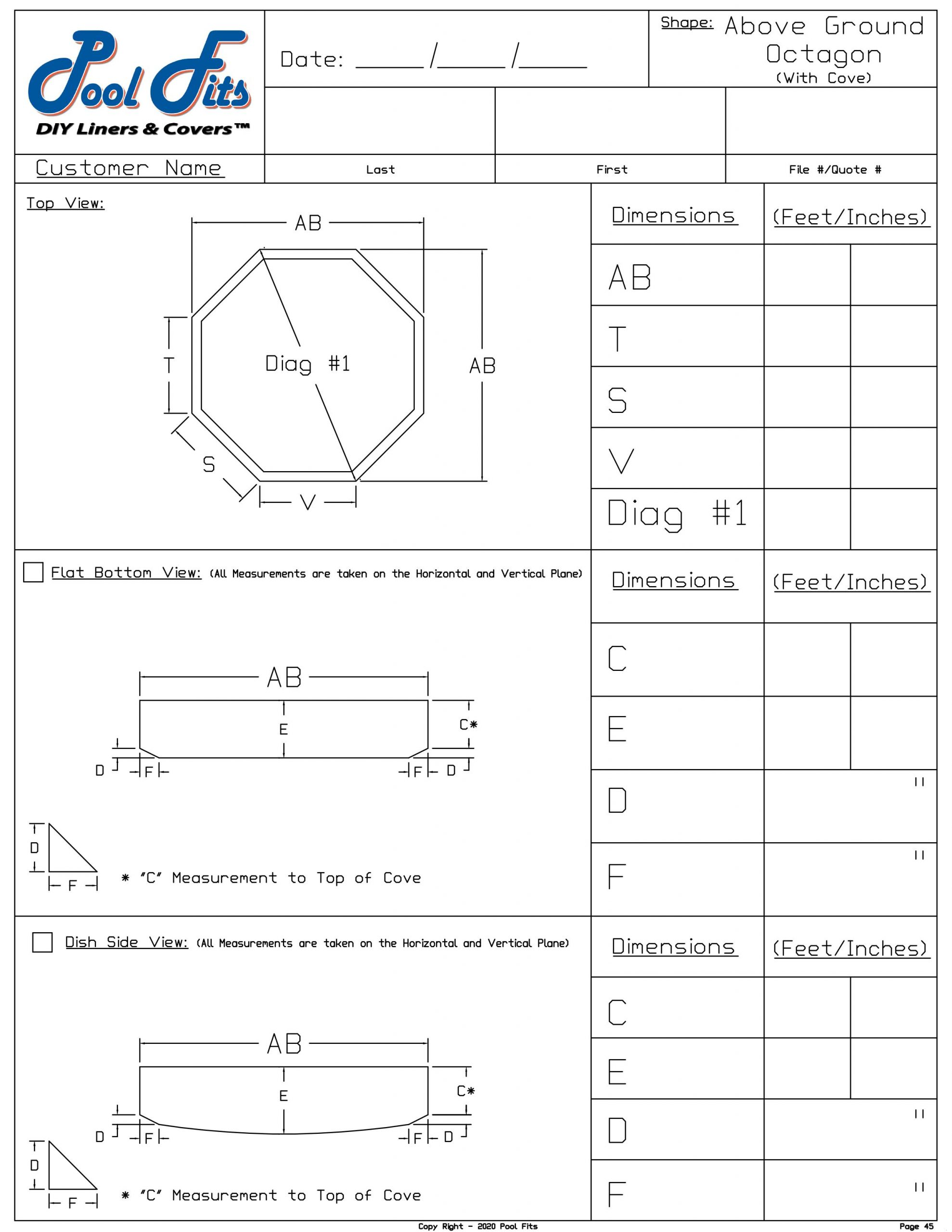 Above Ground Octagon with Cover Measurement Sheet