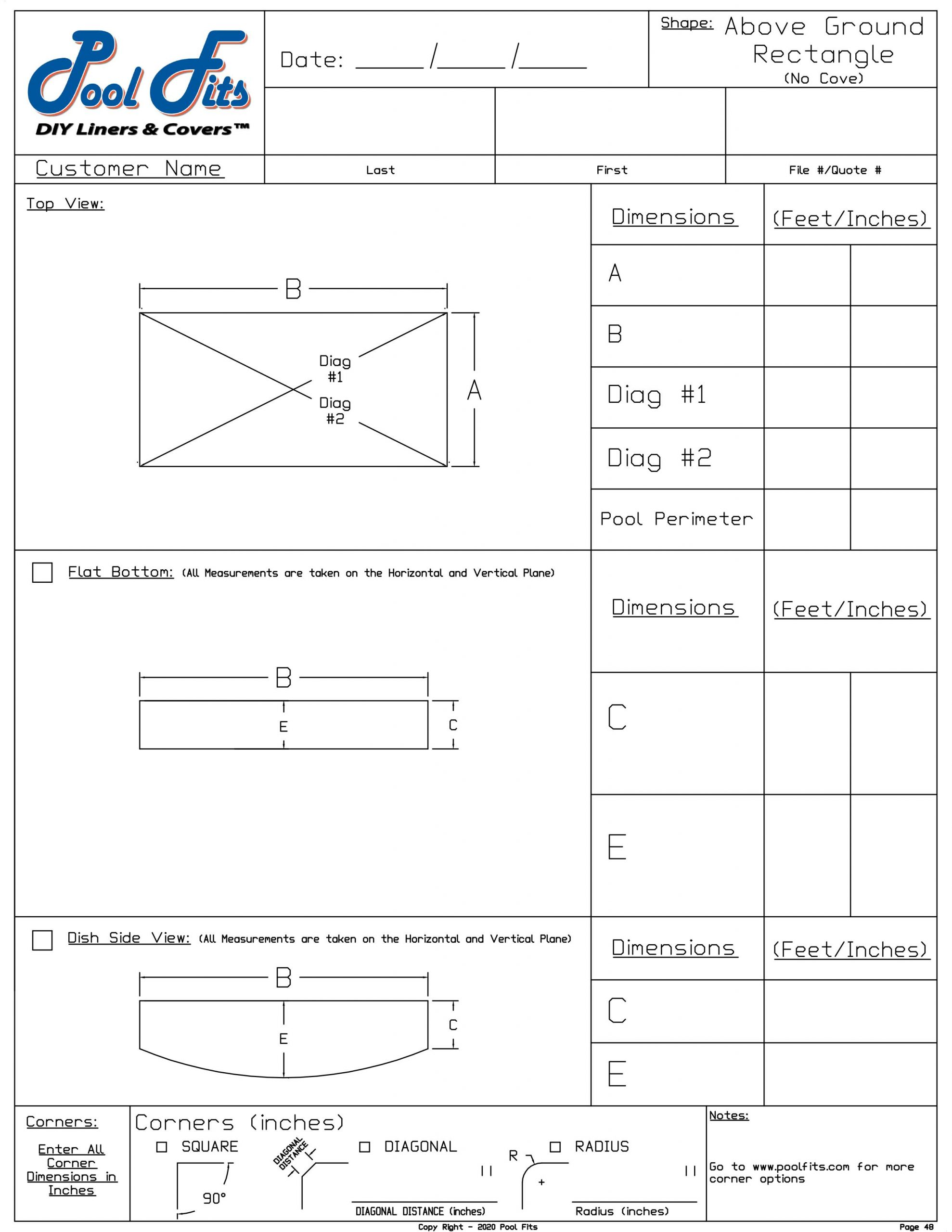 Above Ground Rectangle Measurement Form