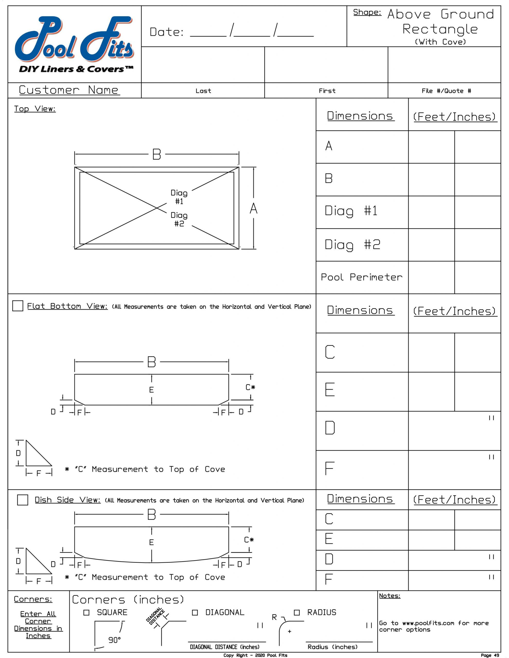 Above Ground Rectangle with Cove Measyrement Form
