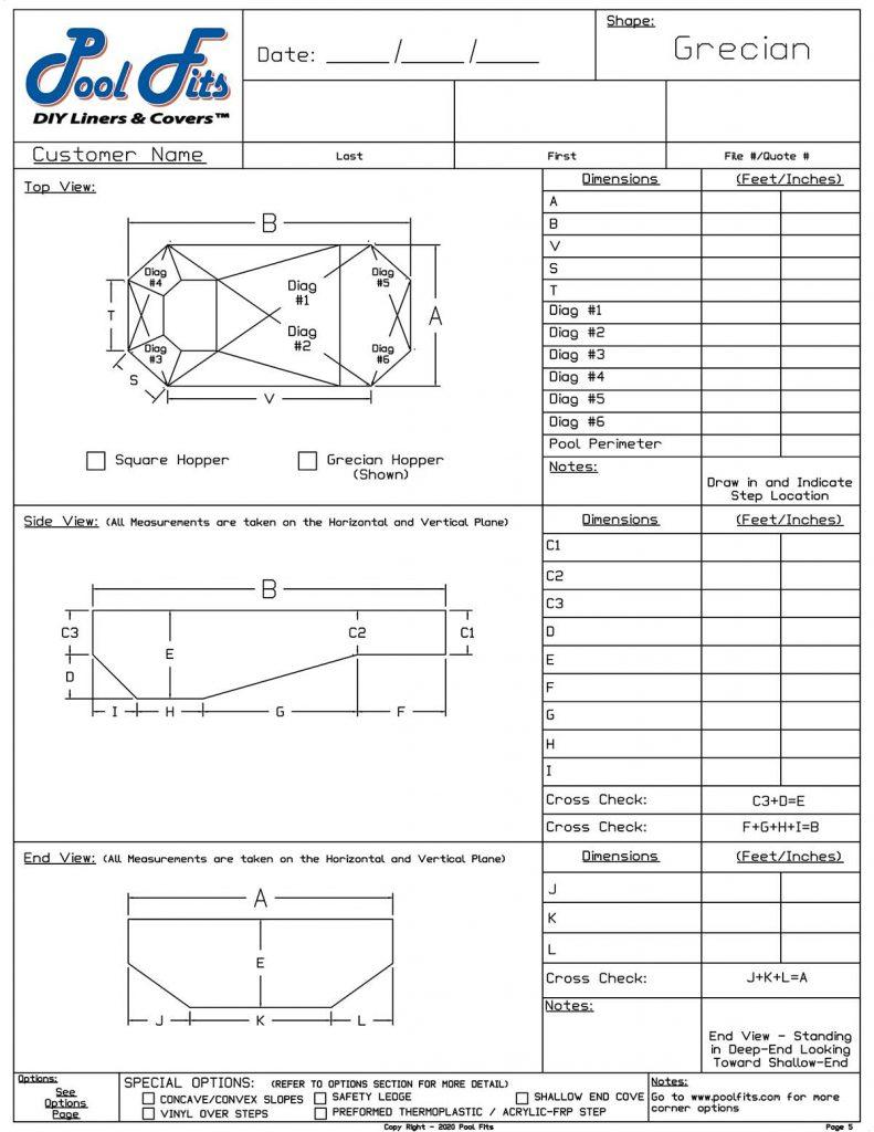 Grecian Measurement Form