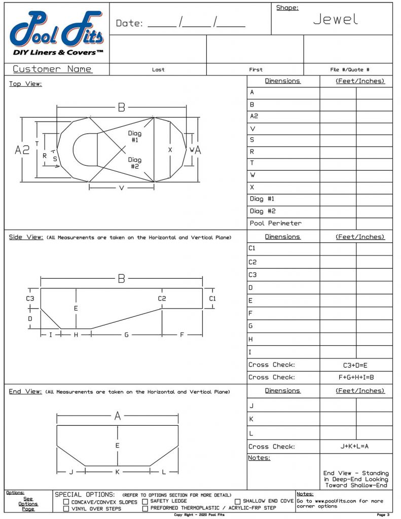 Oval Jewel Measurement Form