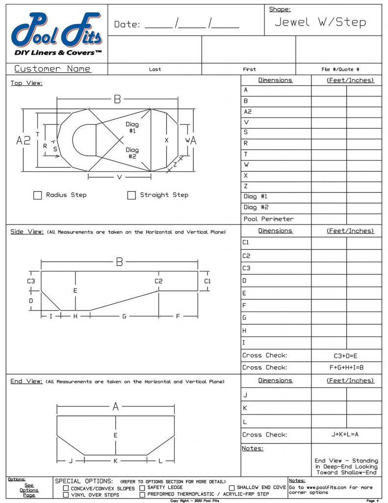 Oval Jewel Straight Step Measurement Form