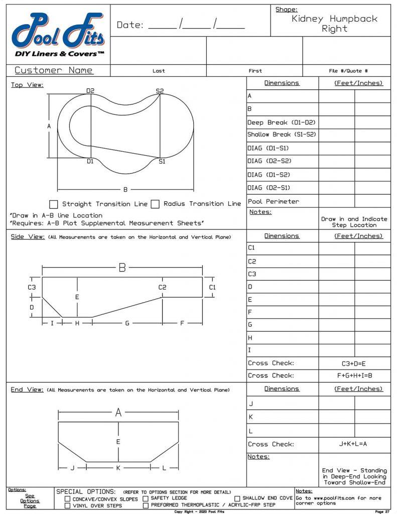 Kidney Humpback Right Hand Measurement Form