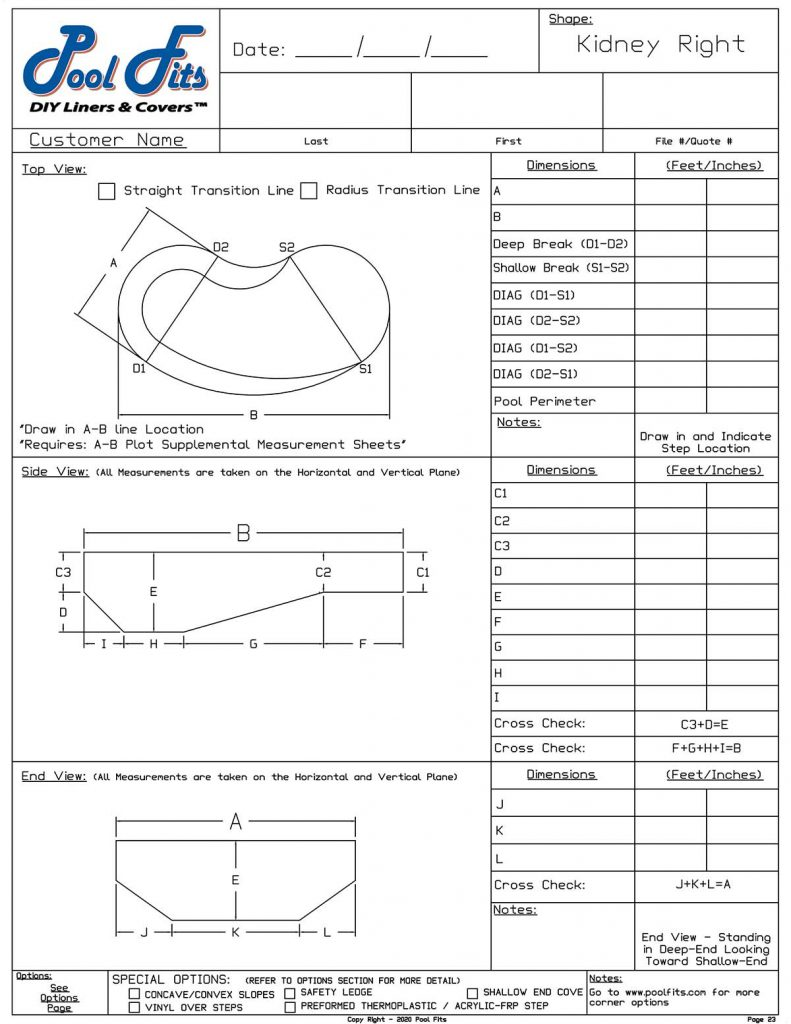 Kidney Right Hand Measurement Form