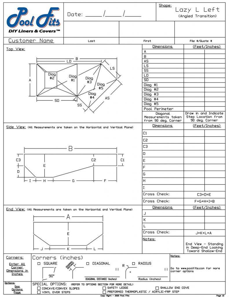 Lazy-L Angled Trans Left Hand Measurment Form