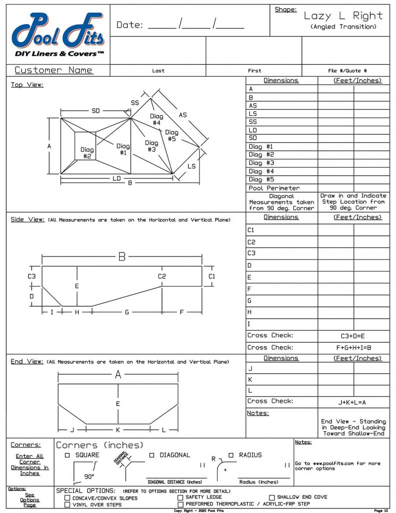 Lazy-L Angled Trans Right Hand Measurement Form