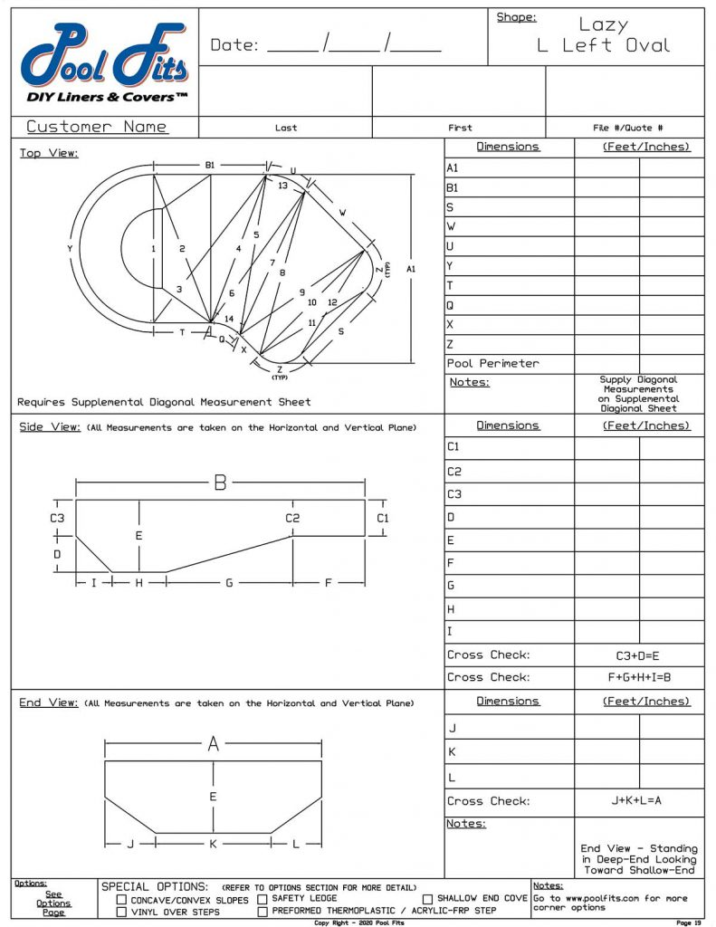Lazy-L Oval Left Hand Measurement Form