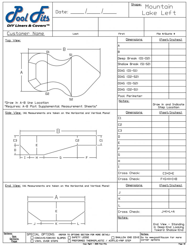 Mountain Lake Left Hand Measurement Form