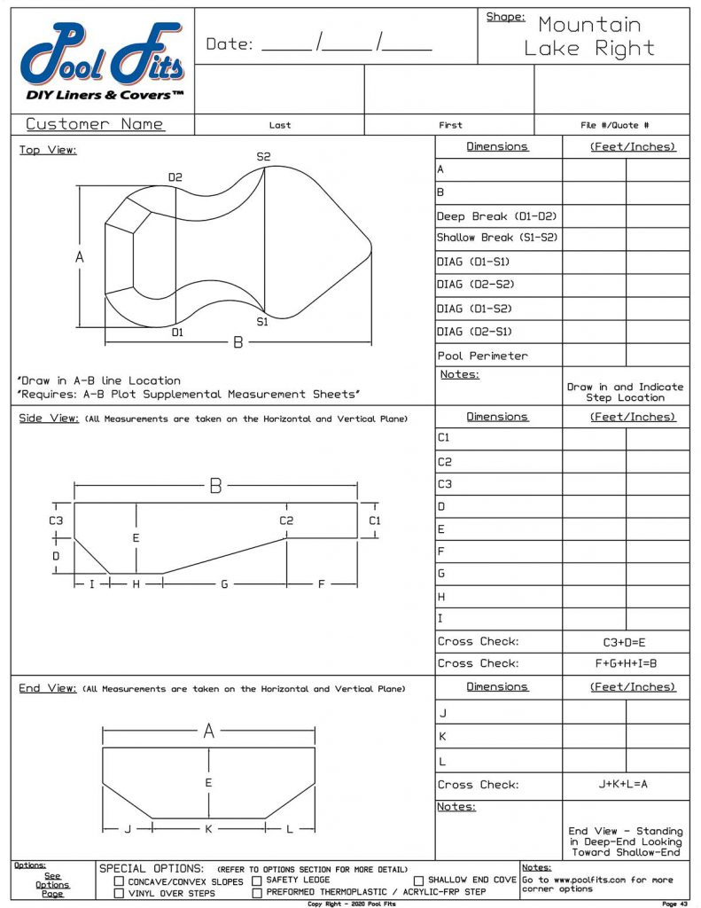 Mountain Lake Right Hand Measurement Form