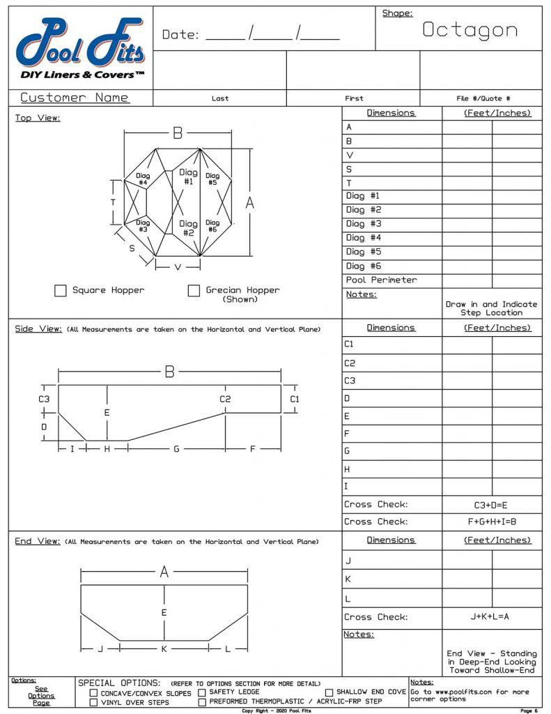 Octagon Measurement Form