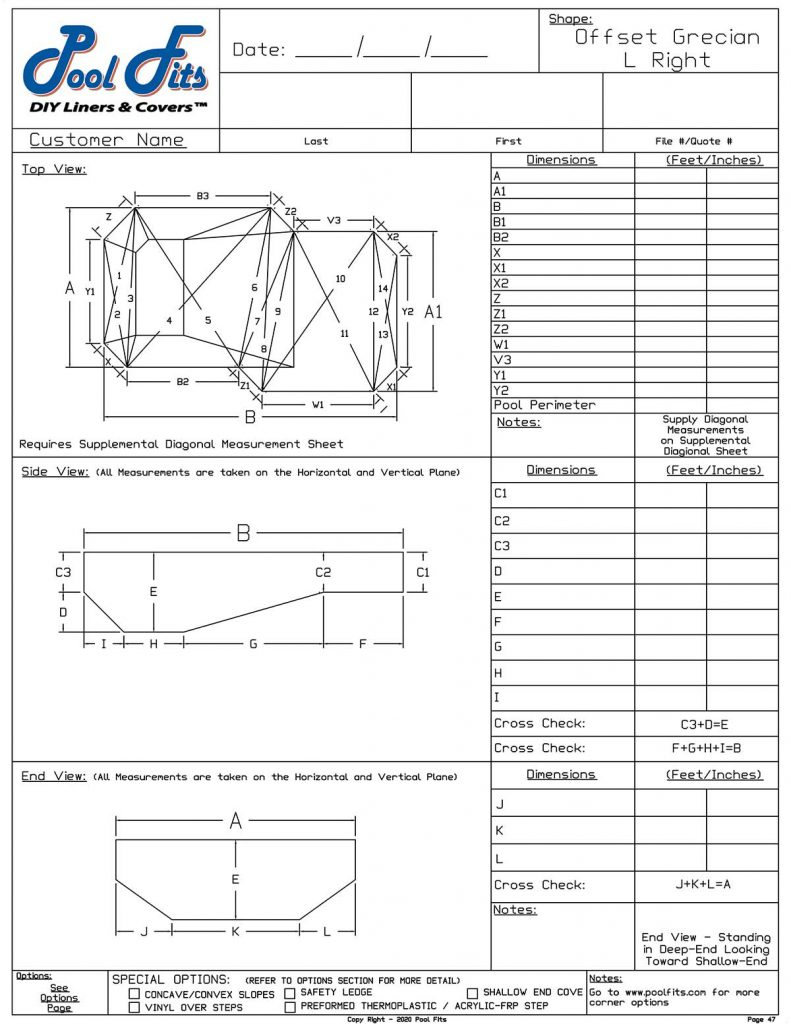 Offest Grecian Right Hand Measurement Form