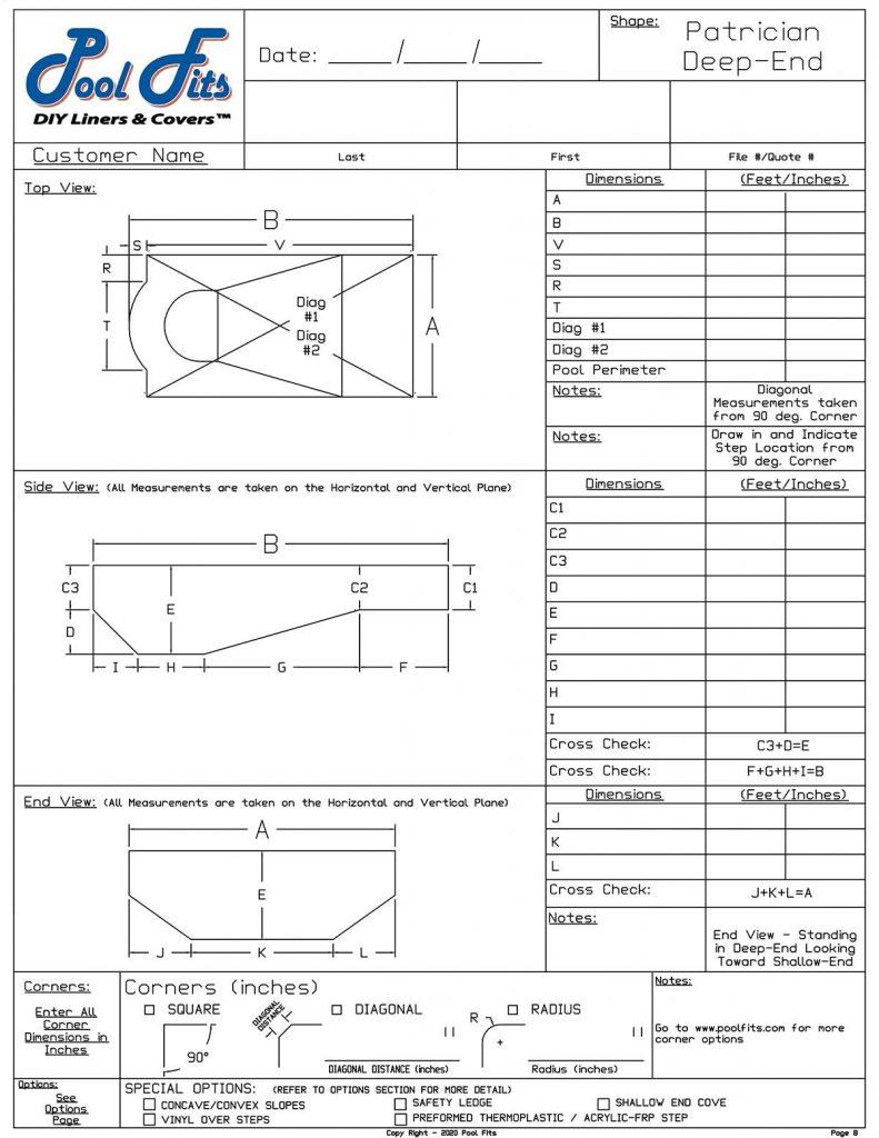 Patrician Deep End Measurement Form