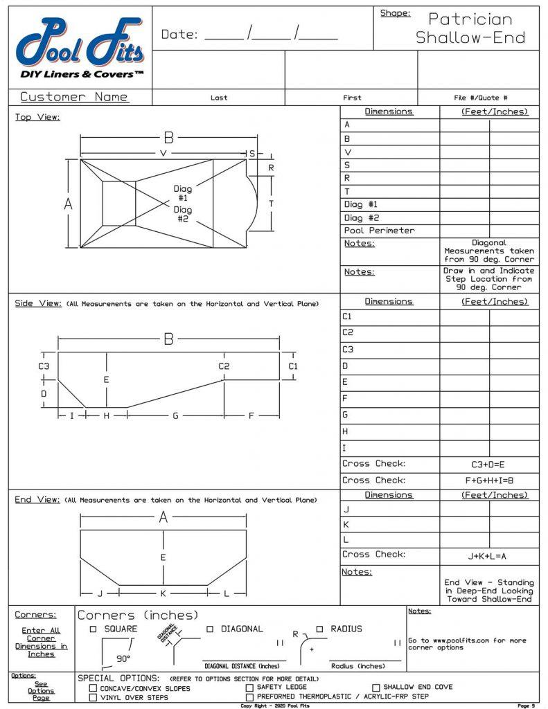 Patrician Shallow End Measurement Form