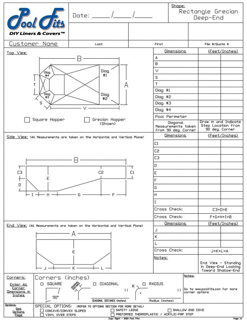 Rectangle Grecian Deep End Measurement Form