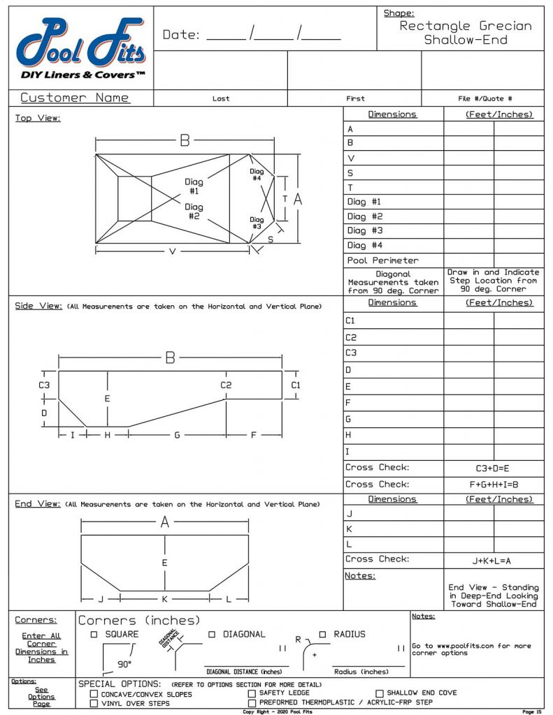 Rectangle With Grecian Shallow End Measurement Form