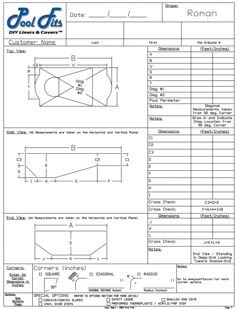 Roman End Measurement Form