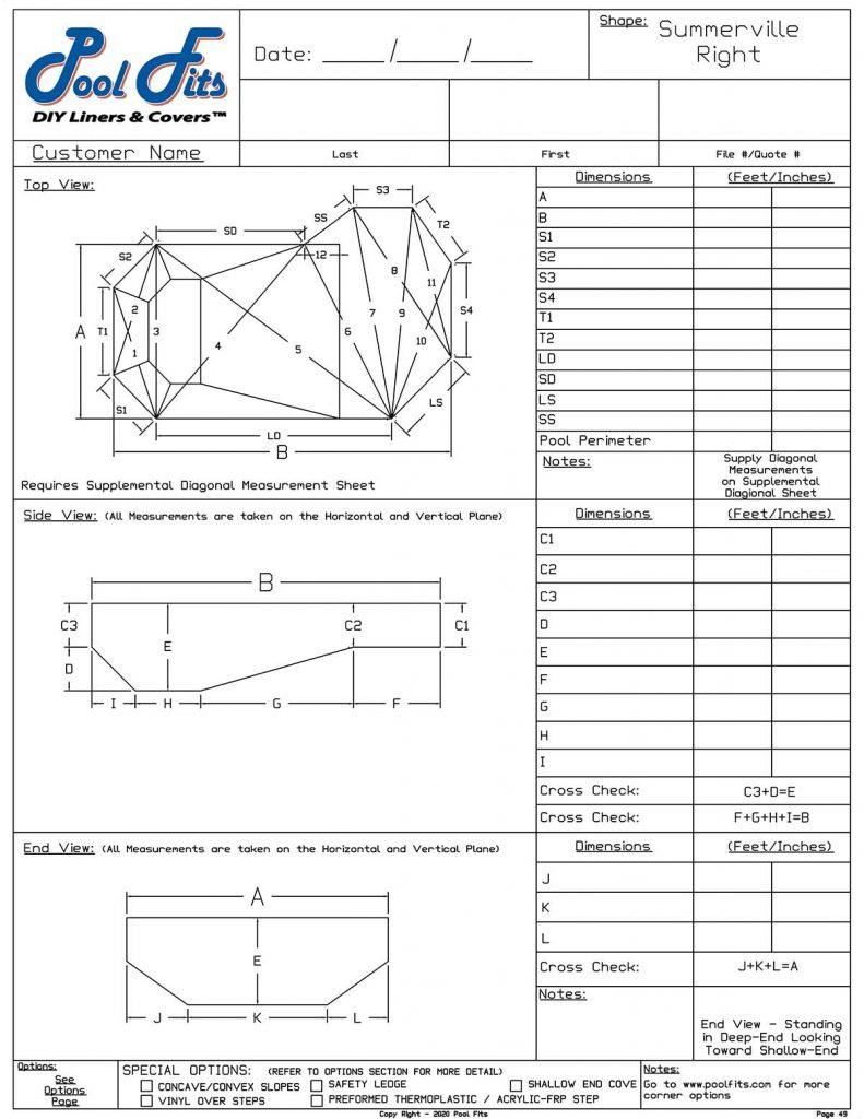 Summerville Right Hand Measurement Form