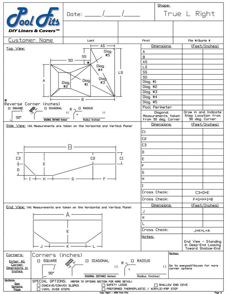 True-L Right Hand Measurement Forms