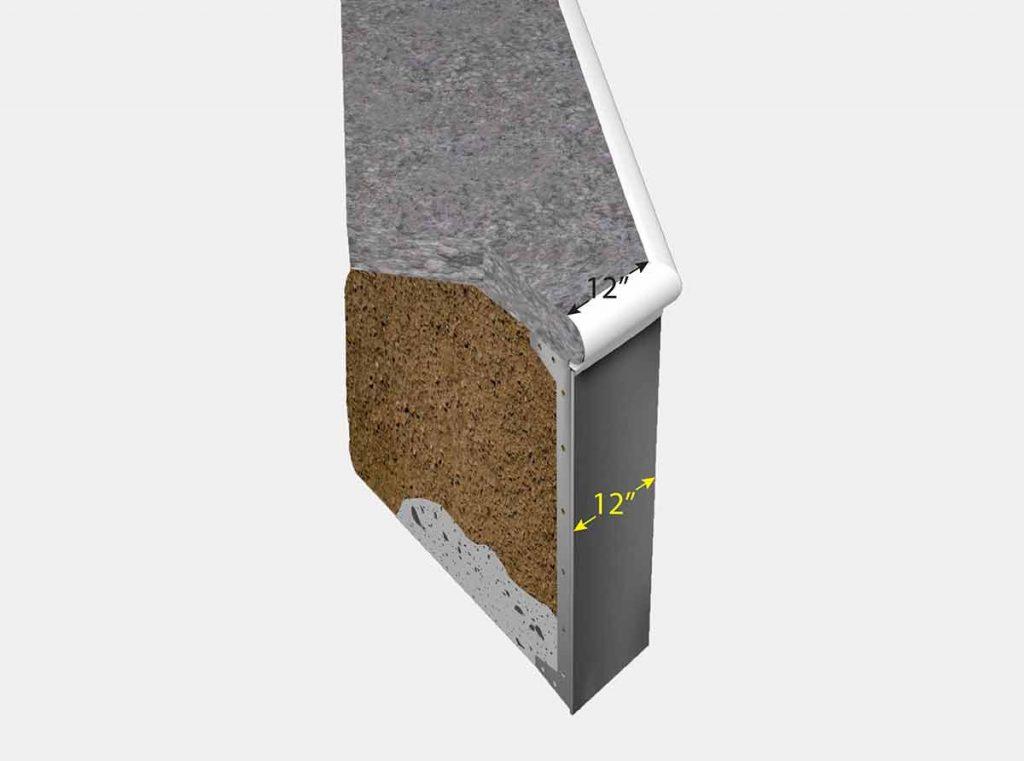 1 Foot Reverse Cut Off Corner - Isometric View