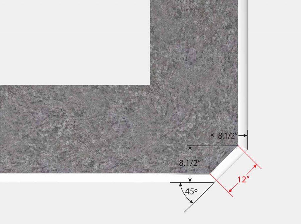 Top View 1 Foot Reverse Cut Off Corner
