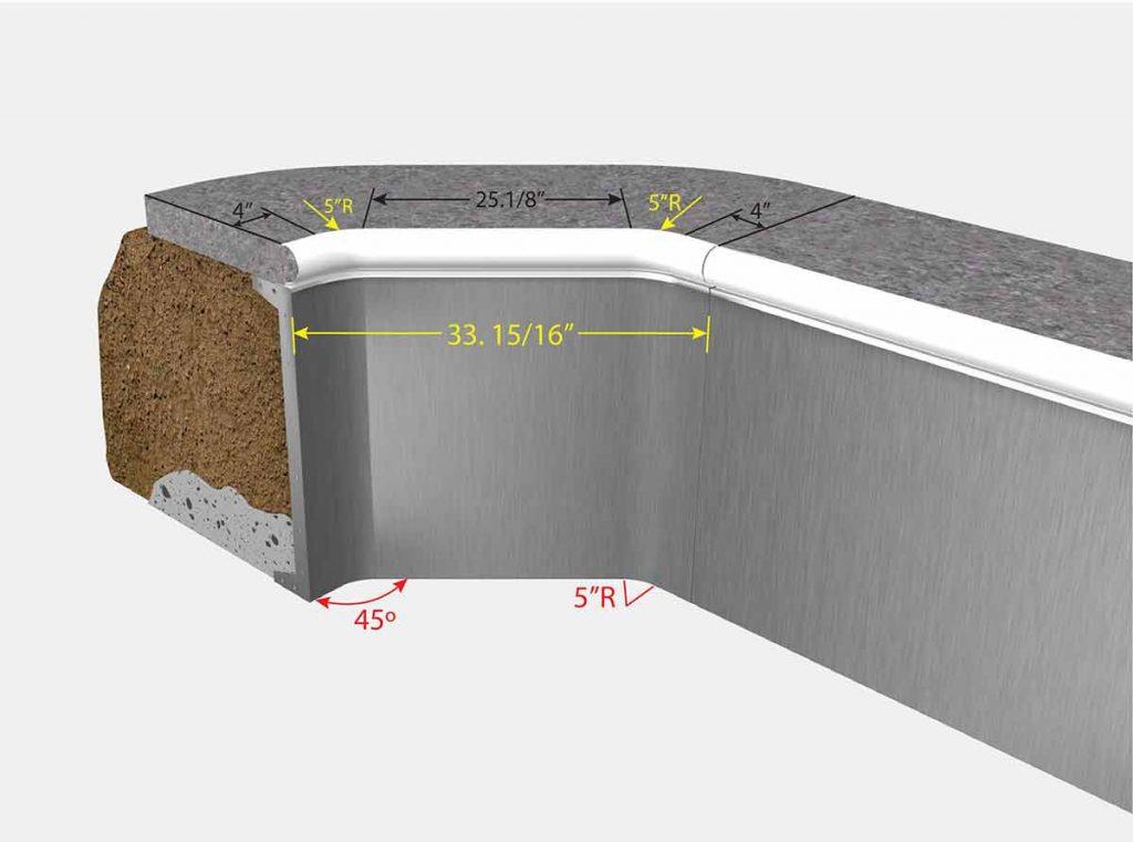 2 Foot 1 Inch Cut Off Corner - Fox - Isometric View