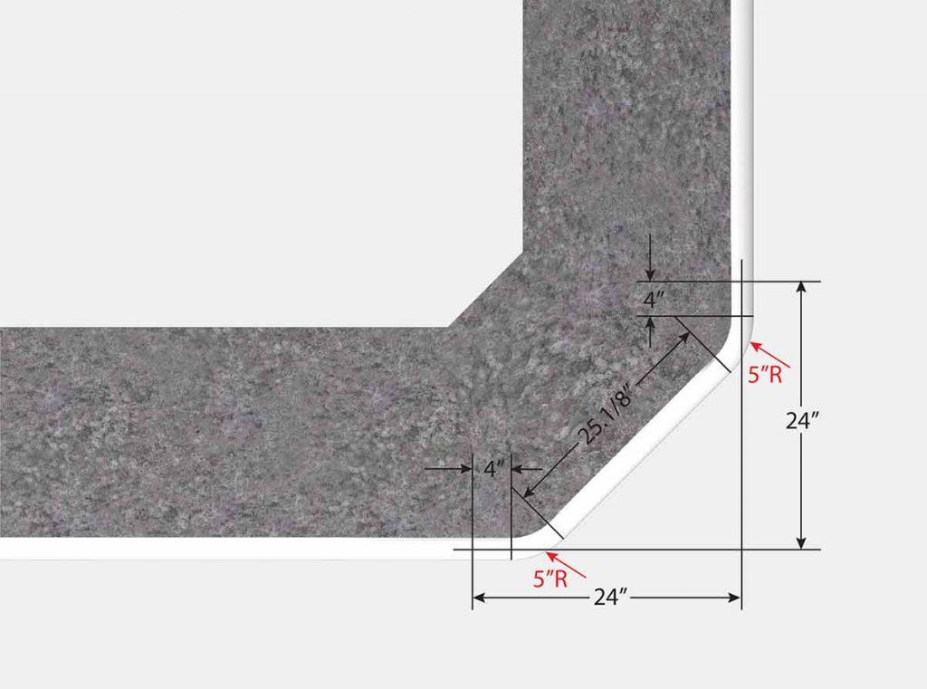 2 Foot 1 Inch Reverse Cut Off Corner - Top View