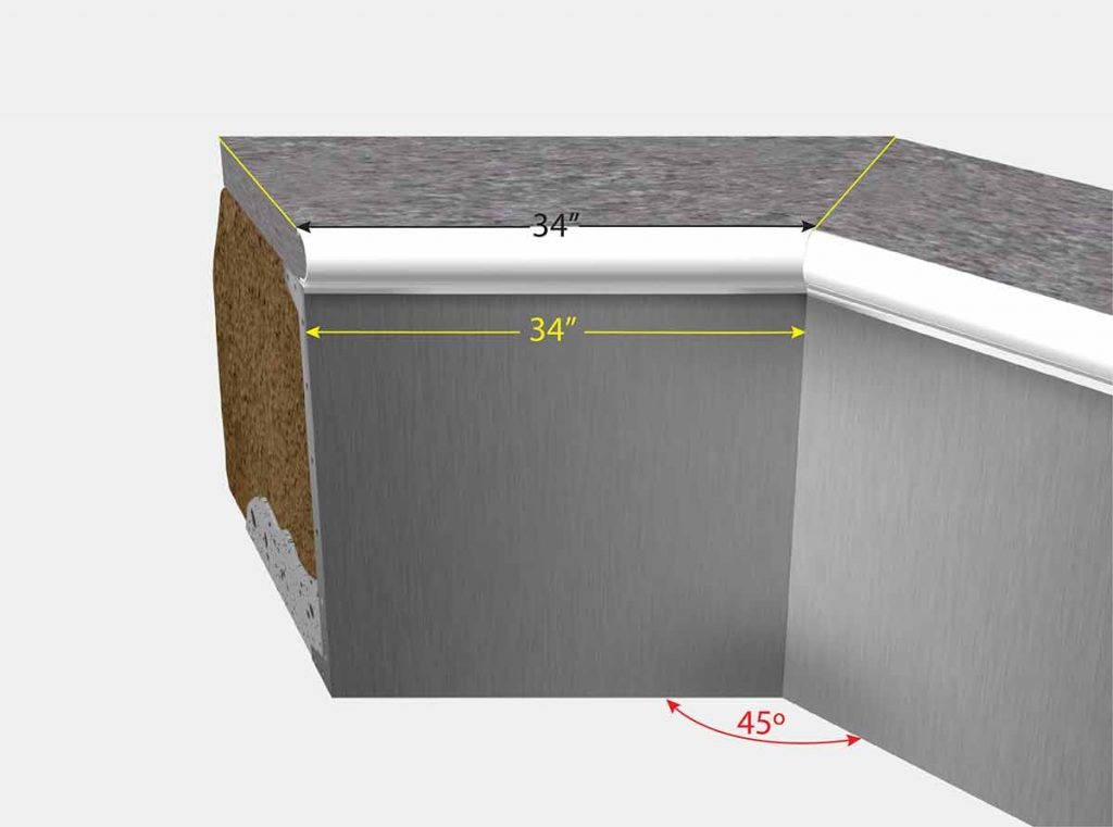 2 Foot 10 Inch Cut Off Corner - Isometric View