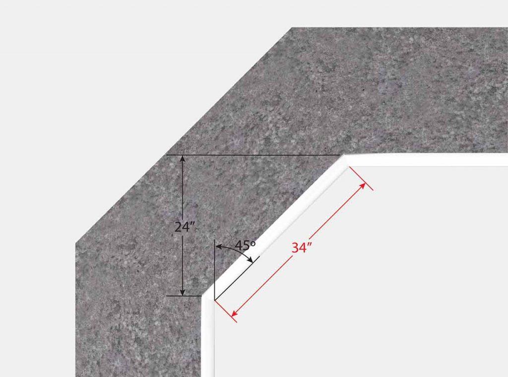 2 Foot 10 Inch Cut Off Corner - Top View