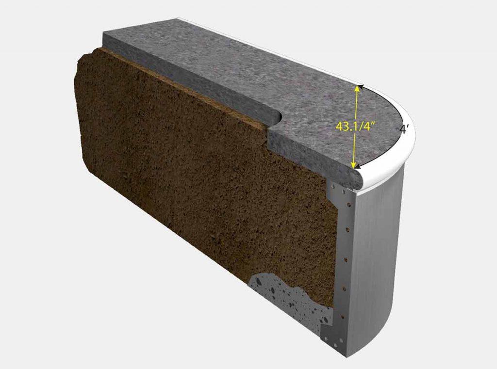 Iso View 2 Foot 6 Inch Reverse Radius Corner