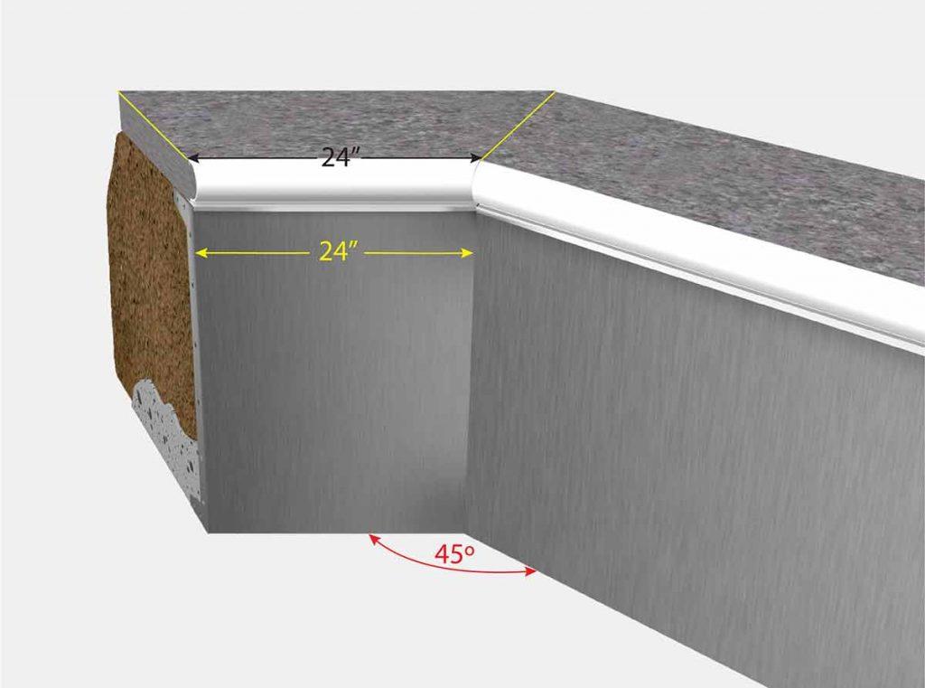 2 Foot Cut Off Corner - Isometric View