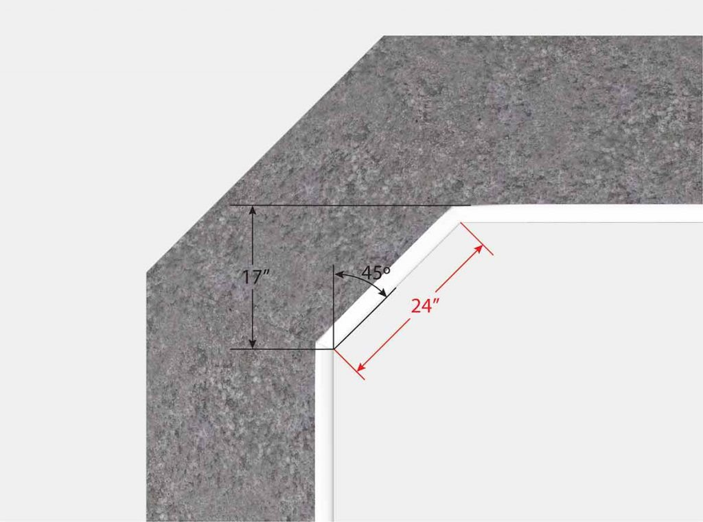 2 Foot Cut Off Corner - Top View