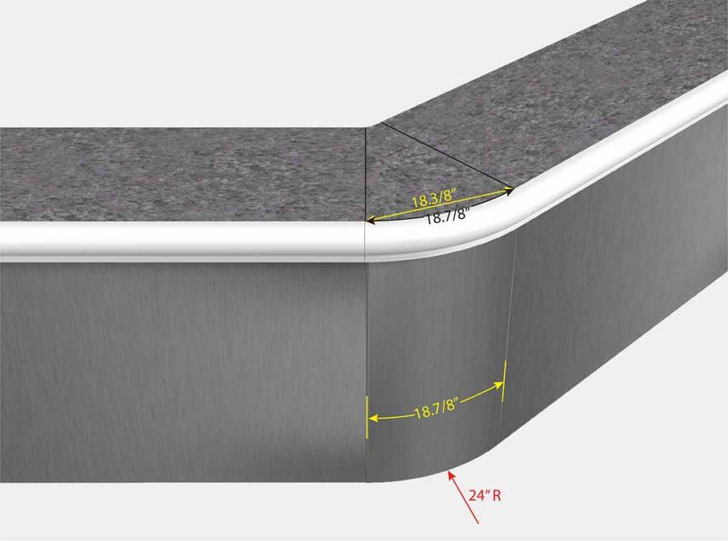 2 Foot Reverse Radius 45 Degree Corner - Front View