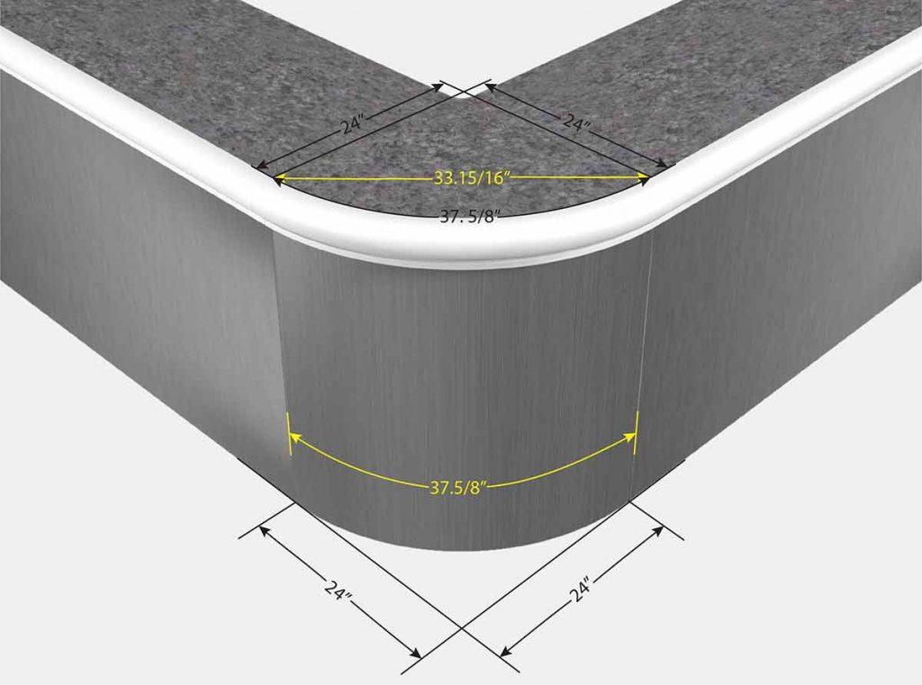 2 Foot Reverse Radius Corner - Front View
