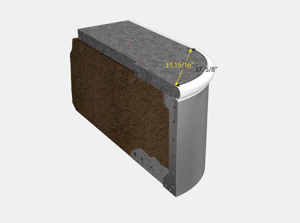 2 Foot Reverse Radius Corner - Isometric View