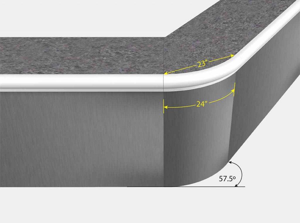 2 Foot Reverse Radius 57.7 Degree - Front View