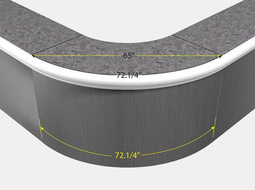 3 Foot 10 Inch Reverse Radius Corner - Front View
