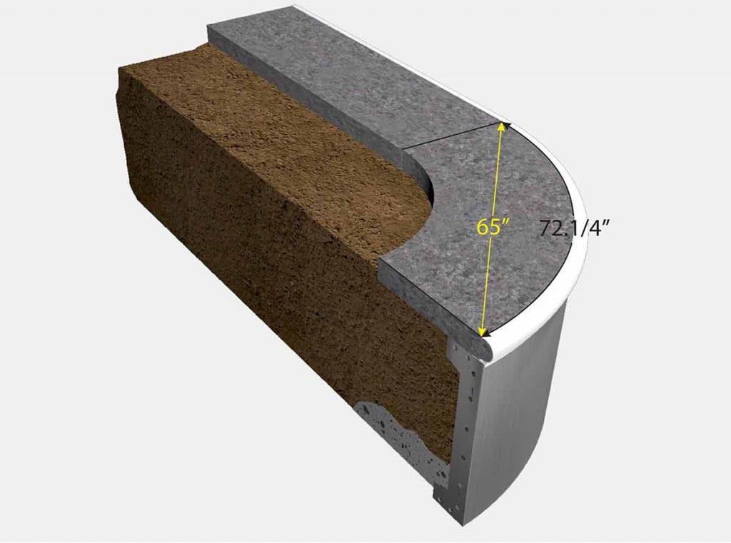 3 Foot 10 Inch Reverse Radius Corner - Isometric View