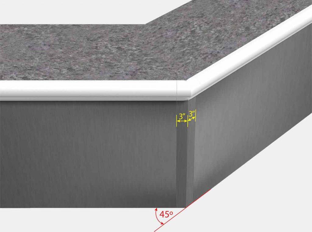 3 Inch x 3 Inch Reverse Mitered Corner - Front View