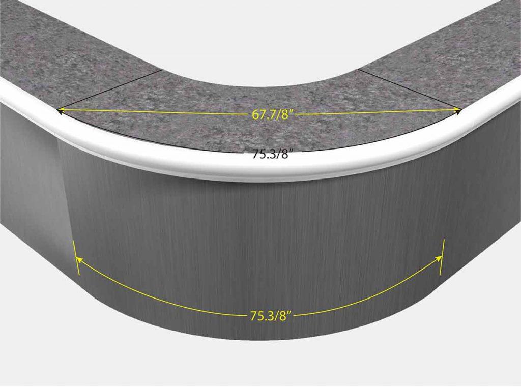 4 Foot Reverse Radius Corner - Front View