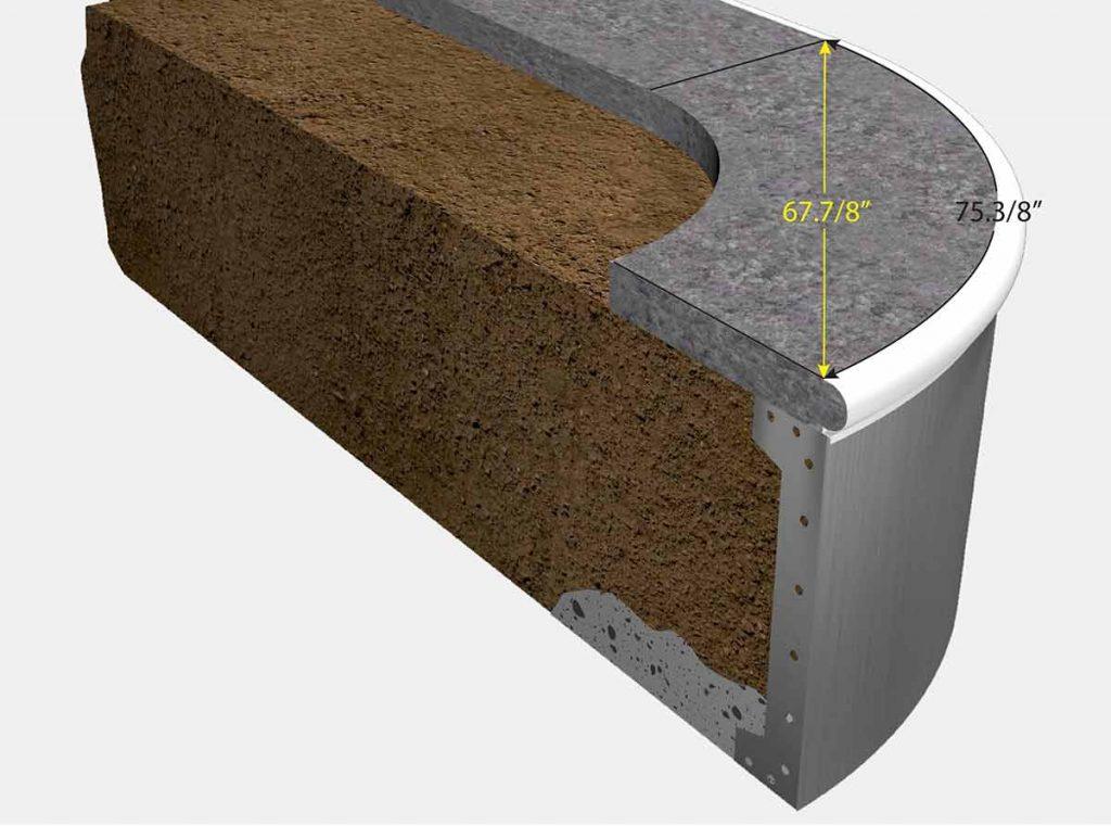 4 Foot Reverse Radius Corner - Isometric View