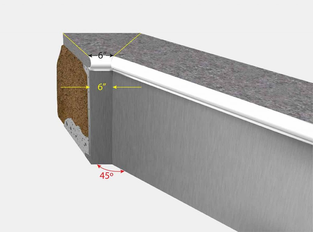 6 Inch Cut Off Corner - Isometric View
