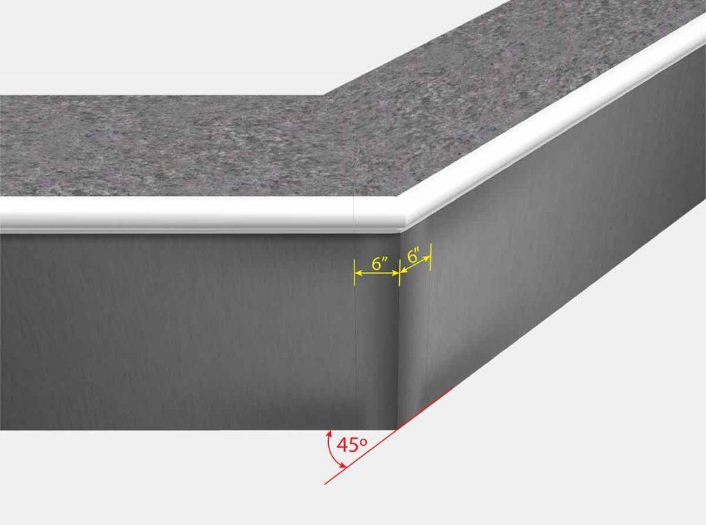 6 Inch x6 Inch Reverse Mitered Corner - Isometric View