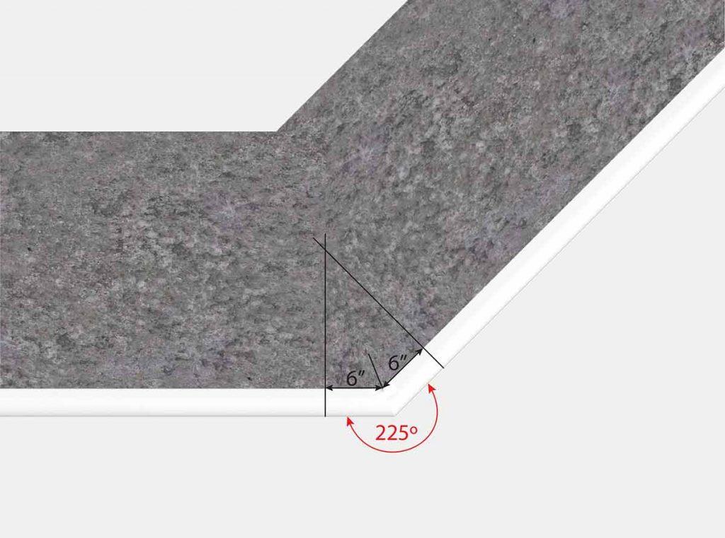 6 Inch x6 Inch Reverse Mitered Corner - Top View