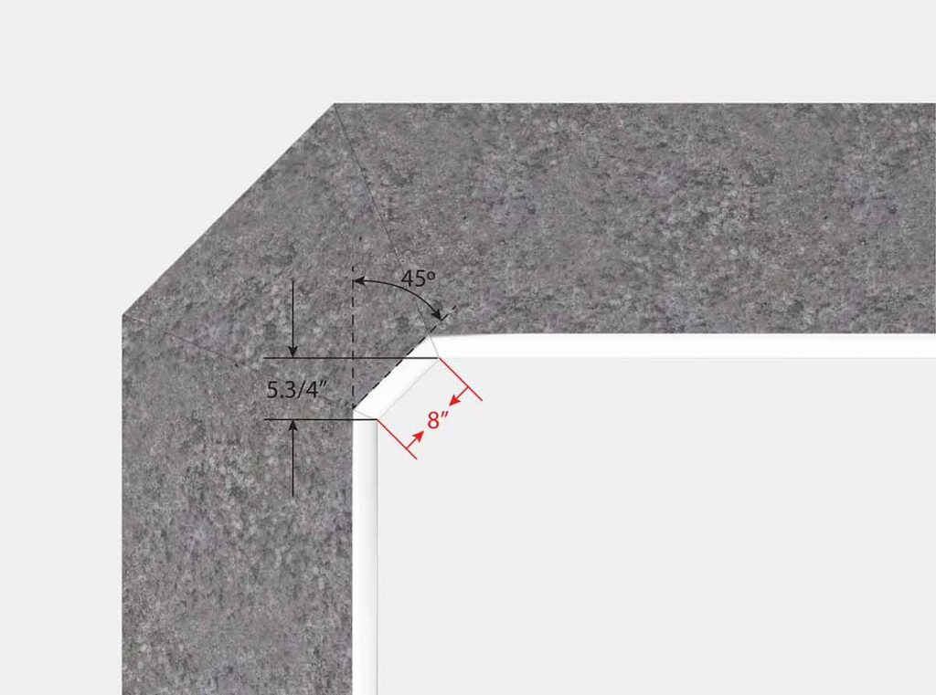 8 Inch Cut Corner at Top to Square Corner Bottom Corner - Polynesian - Isometric View