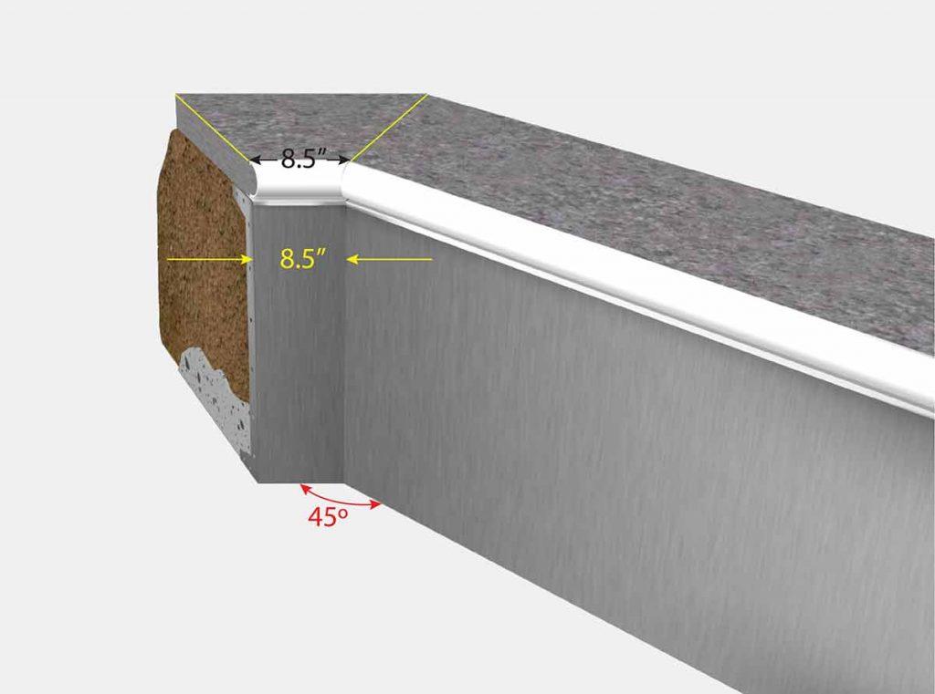 8 1/2 Inch Cut Off Corner - Isometric View
