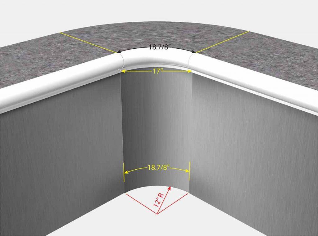 1 Foot Radius Corners - Isometric View
