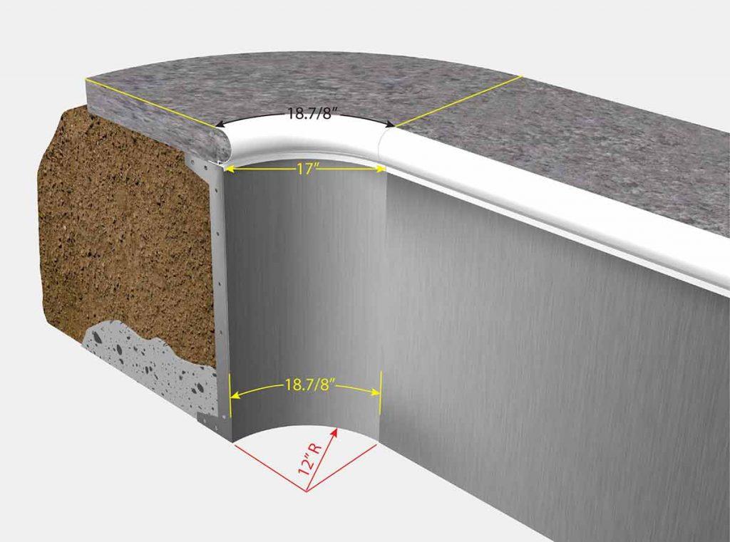 1 Foor Radius Corners - Isometric View