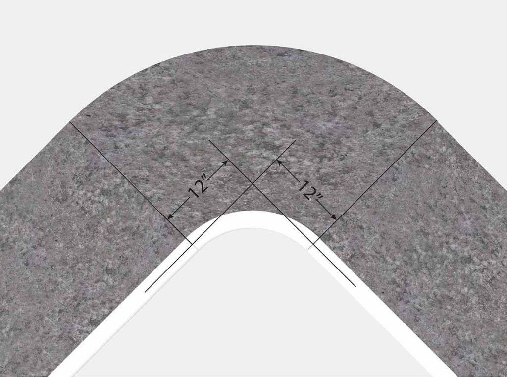 1 Foot Radius Corner - Top View