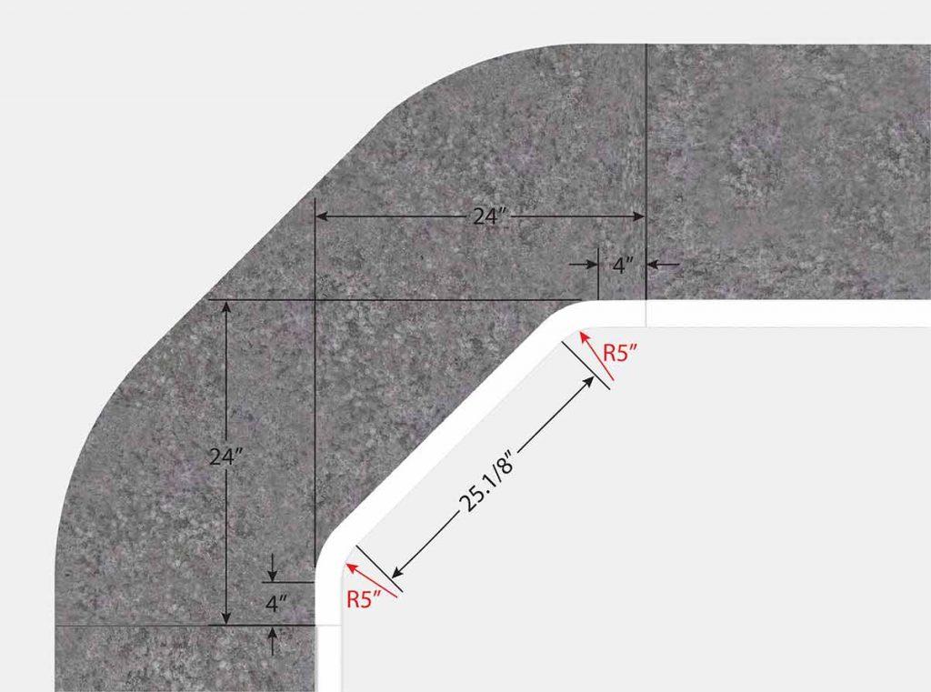 Foxx 2 Foot 1 Inch Cut Corner - Top View