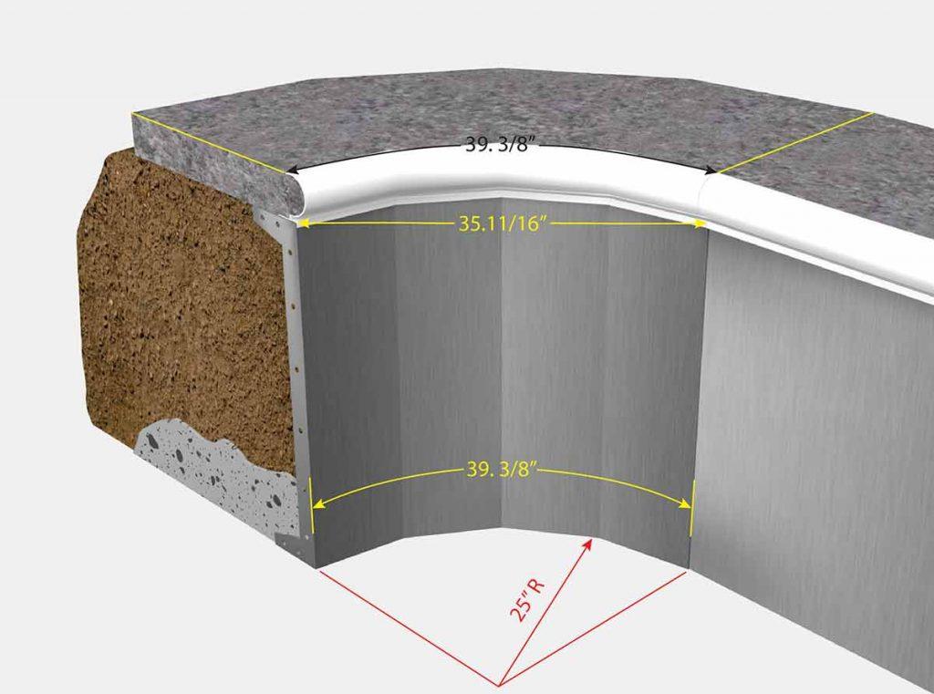 2 Foot 1 Inch Radius Corners - Dejoyeaux - Isometric View